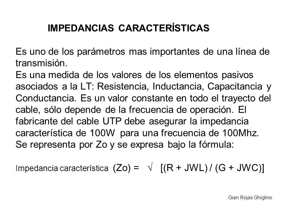 IMPEDANCIAS CARACTERÍSTICAS Es uno de los parámetros mas importantes de una línea de transmisión. Es una medida de los valores de los elementos pasivos asociados a la LT: Resistencia, Inductancia, Capacitancia y Conductancia. Es un valor constante en todo el trayecto del cable, sólo depende de la frecuencia de operación. El fabricante del cable UTP debe asegurar la impedancia característica de 100W para una frecuencia de 100Mhz. Se representa por Zo y se expresa bajo la fórmula: Impedancia característica (Zo) = √ [(R + JWL) / (G + JWC)]